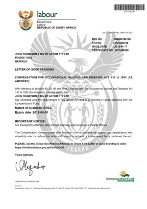 Letter of Goodstanding - Erection Expires 30 April 2019