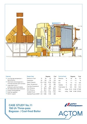 Case Study 11 - 150 th Three-Pass Bagasse Coal Fired Boiler