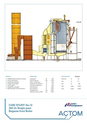Case Study 12 - 204 th Single-Pass Bagasse Fired Boiler