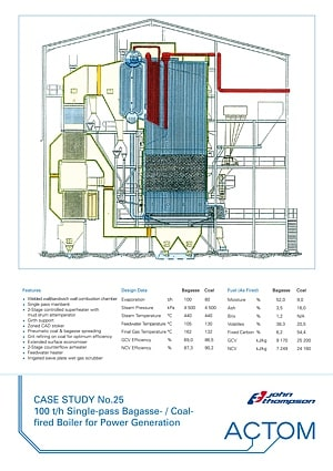 Case Study 25 - 100 th Single-Pass Bagasse Coal Fired Boiler for Power Generation