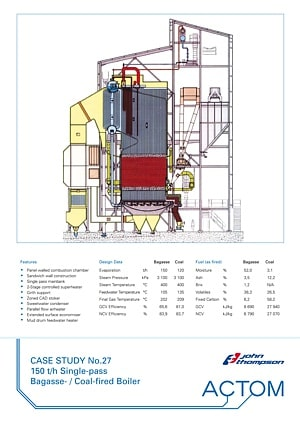 Case Study 27 - 150 th Single-Pass Bagasse Coal Fired Boiler