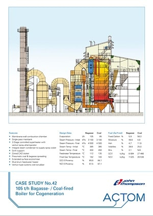 Case Study 42 - 105 th Bagasse Coal Fired Boiler for Cogeneration
